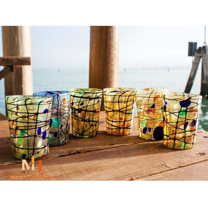verres eau colorés murano