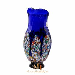 murano glass vase blue