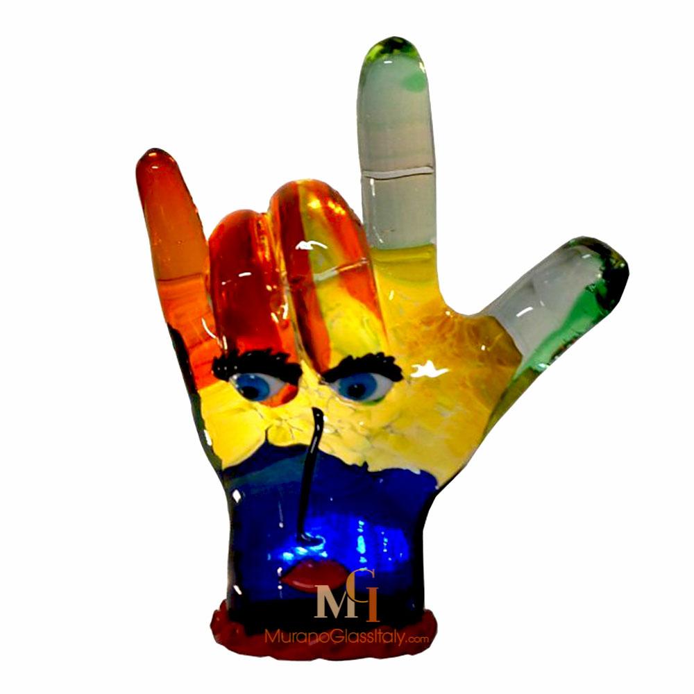 sculpture main verre soufflé
