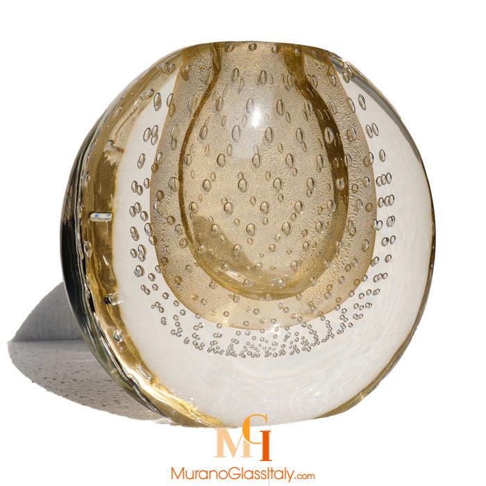 murano glass vase gold