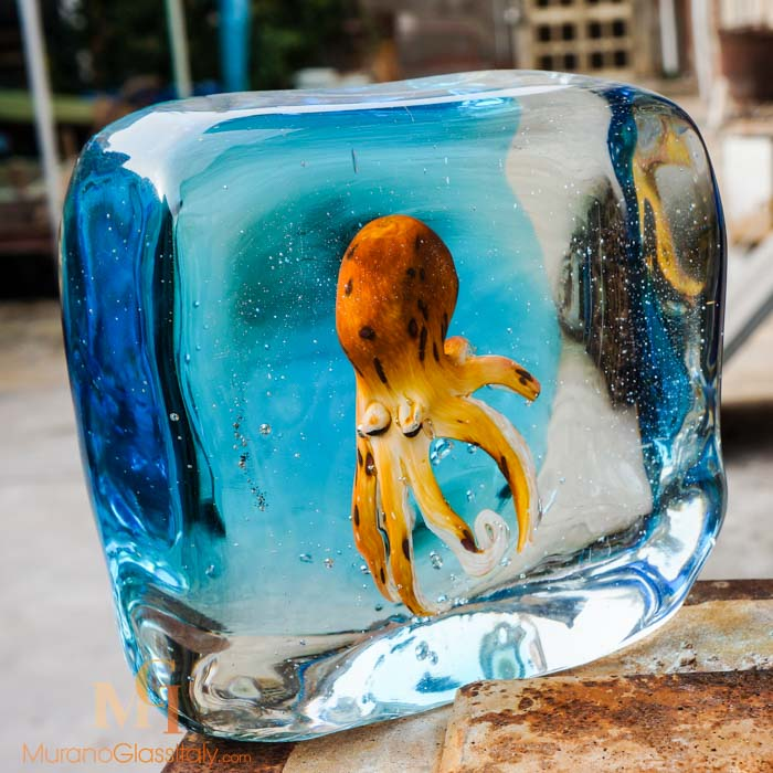 glass octopus sculpture