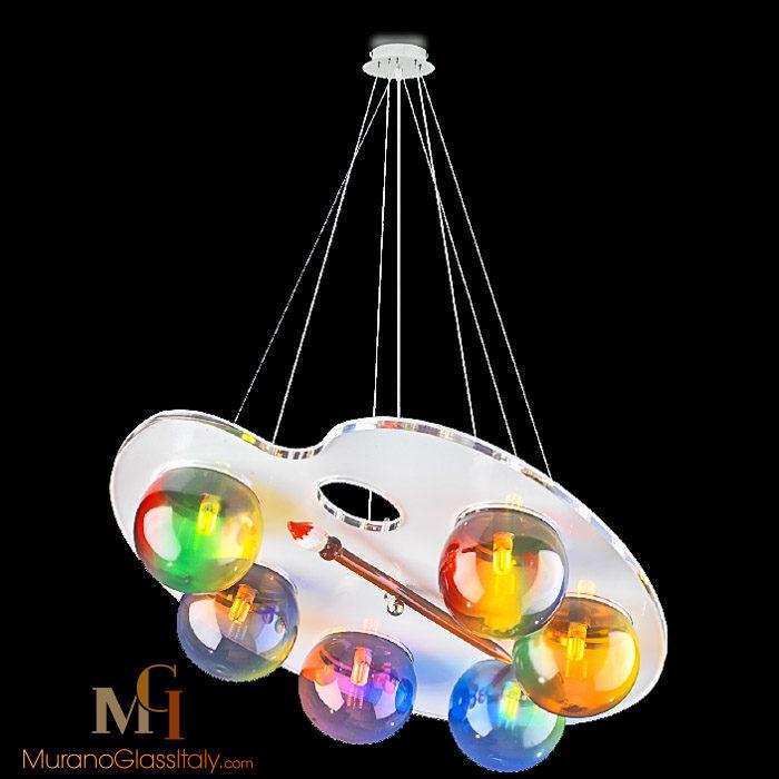 欧式彩色玻璃球吊灯