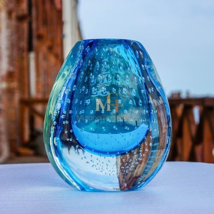 意大利蓝色手工玻璃花瓶