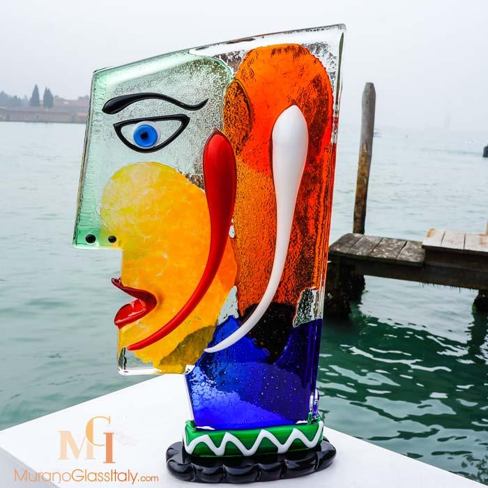 ديكور تمثال وجه  من الزجاج