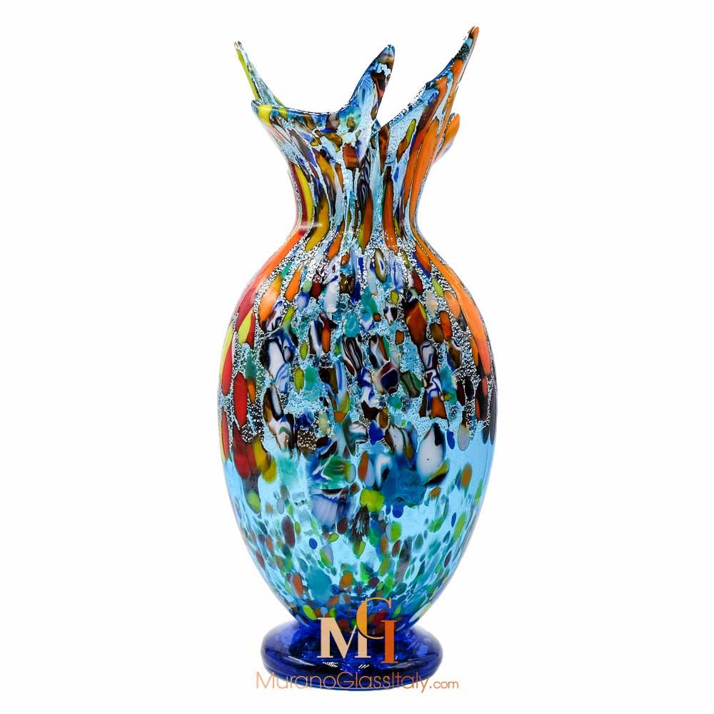 vase cristal bleu murano