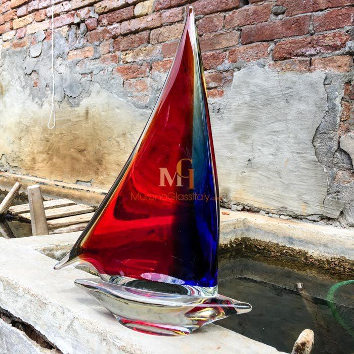 水晶帆船工艺品