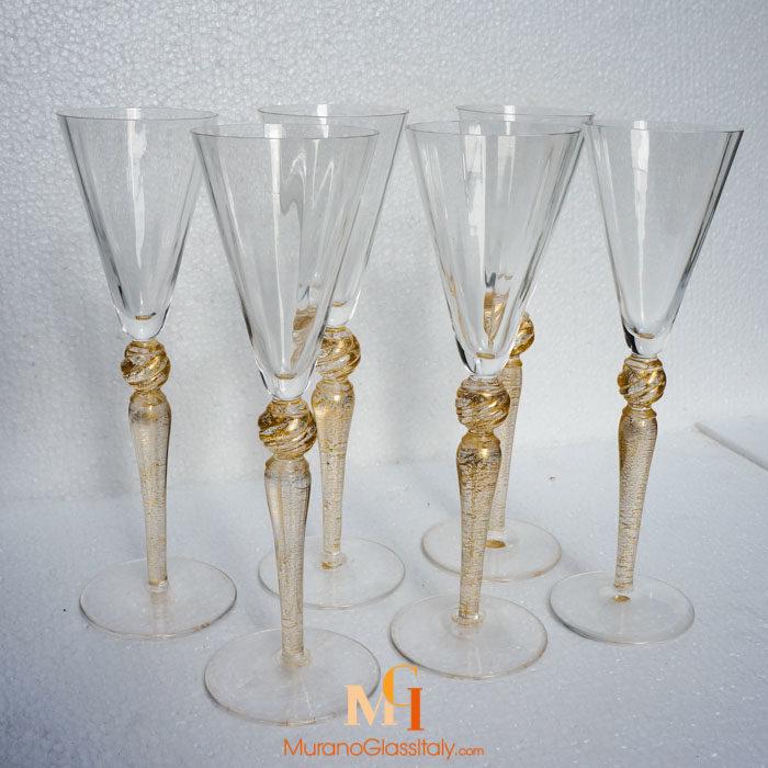 murano glass champagne flutes