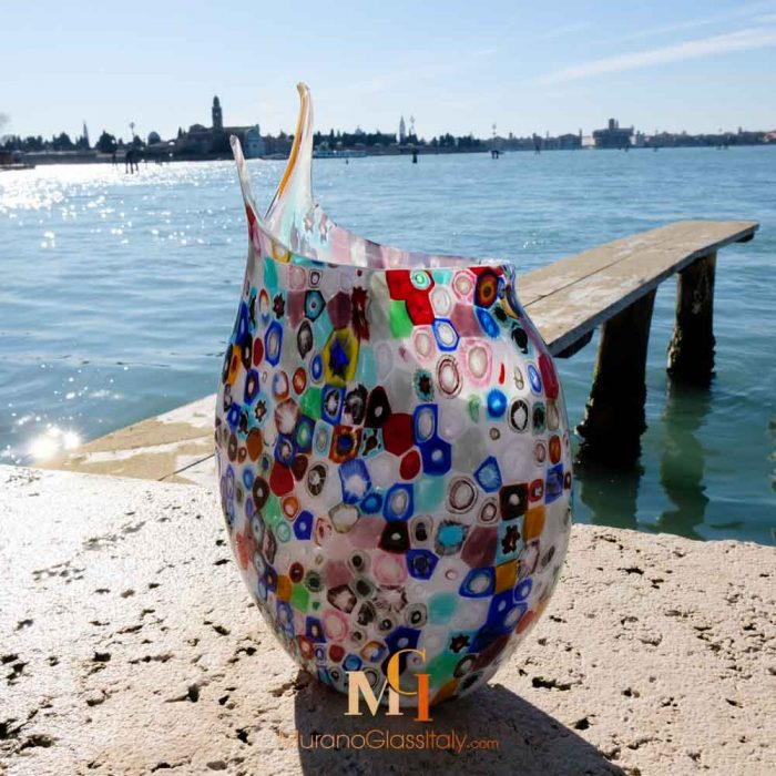 murano multi coloured glass vase