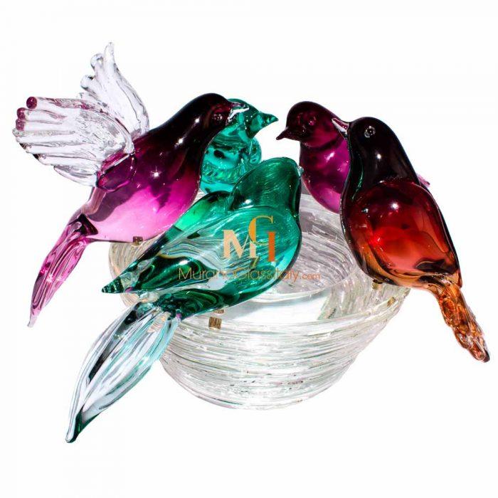 glass bird bowl