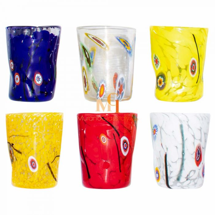 multi coloured drinking glasses