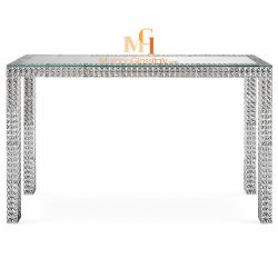 silver and glass console table