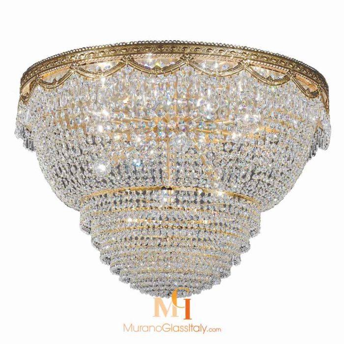 large flush mount crystal chandelier